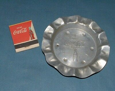 Vintage Coca Cola Aluminium Ashtray & Matchbook - 1950's - Used