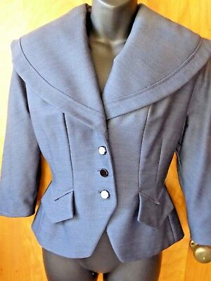 Vintage 1950s Forstmann Fitted Wool Silk Shawl-Collared Blazer Jacket Small