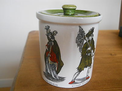Unusual 1930's Holkham English Pottery Victorian Street Vendors Preserve Jar Pot