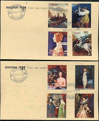 Bhutan Scott# 109C/g  3-D Painting Set On Two  Official First Day Covers  Rare