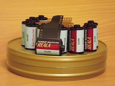 10 rolls of Fuji Reala 500D 35mm Motion Picture Cine Film 30 exp. Free Film Can