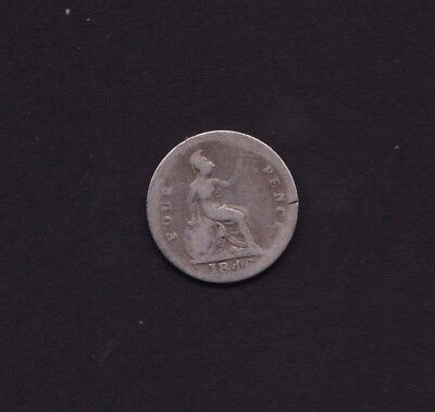 1846 Great Britain UK Victoria Four Pence Silver Coin
