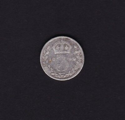 1889 Great Britain UK Victoria Threepence Silver Coin