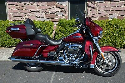 "2017 Harley-Davidson Touring  2017 2-Tone Red Harley Davidson Electra Glide Ultra Classic FLHTCU 6.5"" GPS ABS"