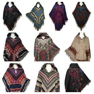 Winter Warm Boho Wool Poncho Wrap Hoodie Jacket Kaftan Fleece Festival One size