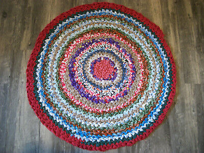"""27 1/2 """" round multi-colored crocheted rag rug with cotton/cotton blend fabric"""