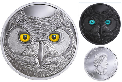 GREAT HORNED OWL - IN THE EYES - GLOW IN THE DARK - 2017 $15 3/4 oz Silver Coin