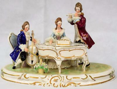 Large Dresden Lace Antique Figurine Music Pianist & Band Group Encrusted Flowers