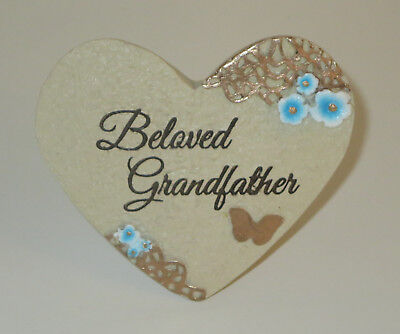 Beloved Grandfather Memorial Grave Marker Heart Butterfly Resin Light Weight New