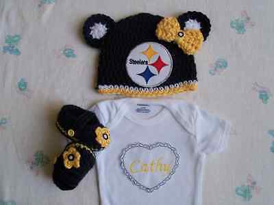 PITTSBURGH STEELERS CROCHET Hat With Pigtails Black And Gold With ... ab25d64bc