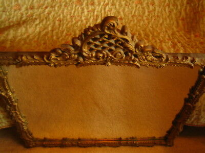 Antique Ornate Gold Wood Carved Gilt Wall Mantle Mirror