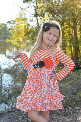 Girls Orange White Damask Halloween Dress 2t 3t 4t Thanksgiving Fall School