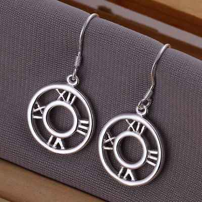 Fashion 925Sterling Solid Silver Jewelry Roman Dangle Earrings For Women E041