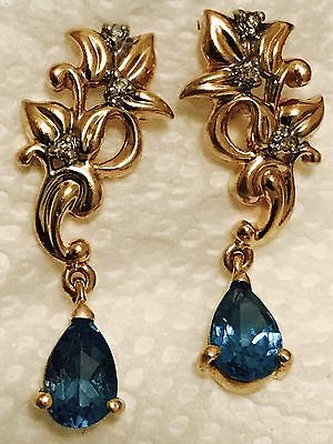 14K Yellow Gold Blue Topaz & Diamond Dangle Earrings