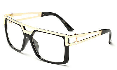0b04d6524af5 Gloss Black Clear Lens Square Sun Glasses Gold Metal Accents Trendy Hipster