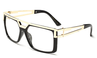 Gloss Black Clear Lens Square Sun Glasses Gold Metal Accents Trendy Hipster