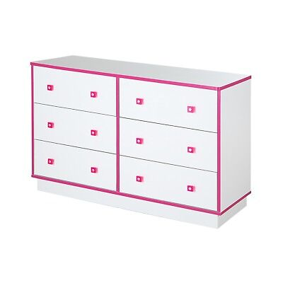Logik 6-Drawer Double Dresser, Pure White and Pink - 9039027