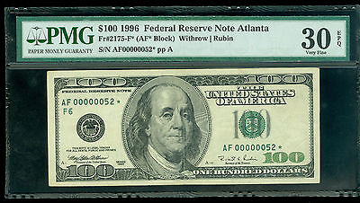 Fr#2175-F* 1996 $100 Rare Atlanta 2 Digit Star Pmg-Vf 30 Epq Awesome Rarity!