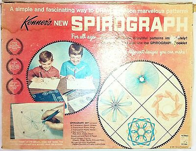 Kenner's No. 401 SPIROGRAPH w/BOX & INSTRUCTIONS toy kit -missing 3 pcs#30,36,42