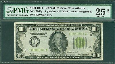 Fr#2152-F* 1934 $100 Rare Atlanta 2 Digit Lgs Star Pmg-Vf 25 Awesome Rarity!