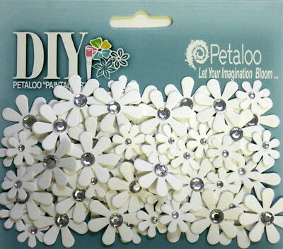 80 Florettes WHITE with Crystal Centres DIY - 15-25mm Darjeeling Range Petaloo I