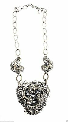 "VTG Silver Plated Statement necklace Huge Reposse Medallion 24"" Chain"