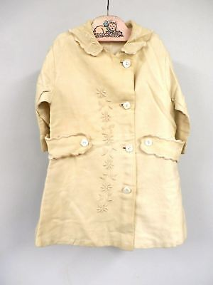 Vintage Childs Ivory Wool Coat Embroidered 30 Chest 20th Century