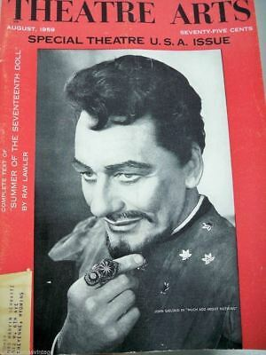 Vintage Theatre Arts Magazine August 1959 Special Issue John Gielgud Cover