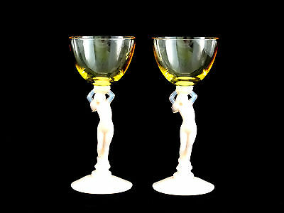 Cambridge Statuesque Crown Tuscan Pink Gold Nude Lady Wine Cocktail Glasses