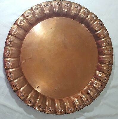 BRASS Round 19.5 inch Serving Tray Platter Scalloped Edge Patina Wall Vintage