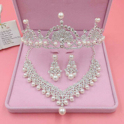 Luxury Bridal Wedding Jewelry Set Crystal Rhinestone Necklace & Earrings & Tiara