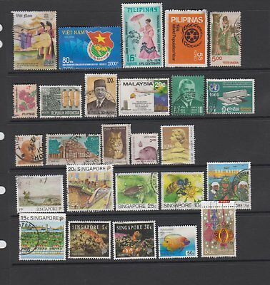 Asia - 26 used stamps  ( Lot 71 )