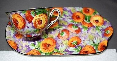 Crown Ducal England Tray & Coffee Cup Marigold Pattern  Fabulous Colors Chintz