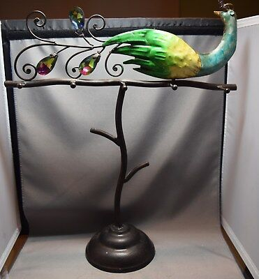 Hand Painted Metal Peacock Mid-Century Watermelon Stone Tail Necklace Tree/Stand