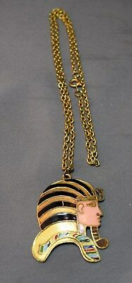 Magical Enameled Egyptian Revival Figural Pharoah Head Pendant & Chain! Vintage
