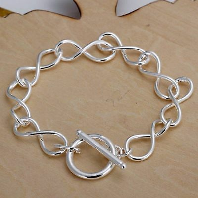 """Fashion 925Sterling Solid Silver Jewelry """"8"""" Chain Bracelet For Women H139"""