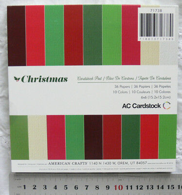 CHRISTMAS PLAIN Heavy Cardstock 10 Colours 4 of 6 & 3 of 4 = 36 Sheets 6x6Pk AC
