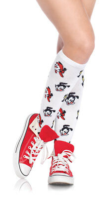 One Size Fits Most Womens Animaniacs Knee High Socks, White Knee High Stockings