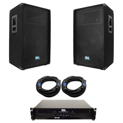 """Pair of 12"""" PA DJ Speakers with Amplifer & 50' Cables Pro Audio LoudSpeakers Amp"""