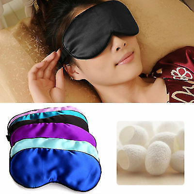 1PC Soft Pure Silk Sleep Eye Mask Padded Shade Cover Travel Relax Aid Blindfold