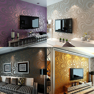 3D Luxury Modern Wallpaper Roll Abstract Curve Mural Flocking Home Decor DIY
