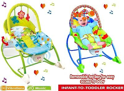 Infant-to-Toddler Rocker Newborn Soothing Music Adjustable Bouncer Chair 18kg UK