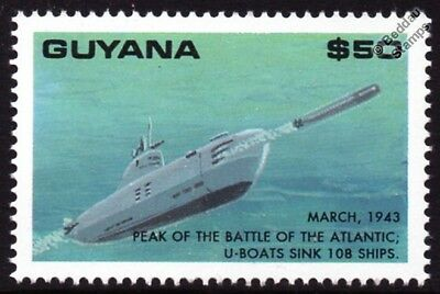 WWII German U-Boat Submarine Warship Stamp (1943 Battle of the Atlantic)