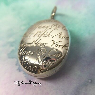 Authentic Excellent Tiffany & Co Notes Script Oval Locket 5th Fifth Avenue Charm