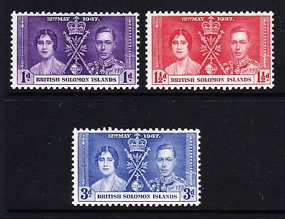 British Solomon Is.1937 Coronation Set Sg 57-59 Mnh.
