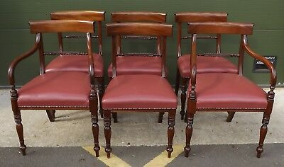 Antique Style Set Of Six Mahogany Dining Chairs With Two Carvers Leather Seats