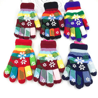 New Children Winter Kids Knitted Snowflakes Colourful Warm Unisex Gloves