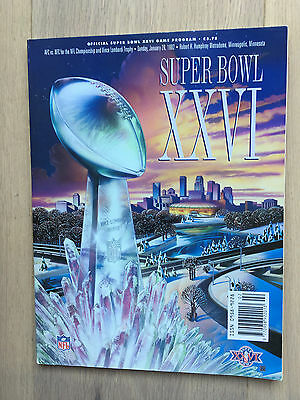 Super Bowl XXVI 26 NFL Programme Bills Redskins
