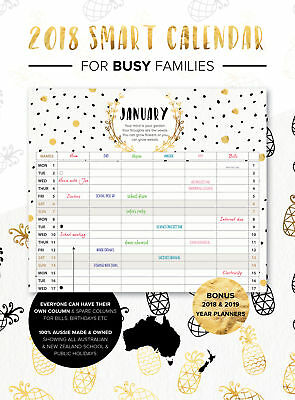 2018 Smart Calendar Family Organiser BLACK & GOLD SPIRAL 100% Aussie made