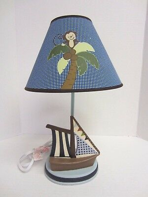 NoJo Ahoy Mate Lamp and Shade Monkey Boat Nursery Blue Brown Green